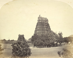 Temple gopuras in the Fort, Vellore